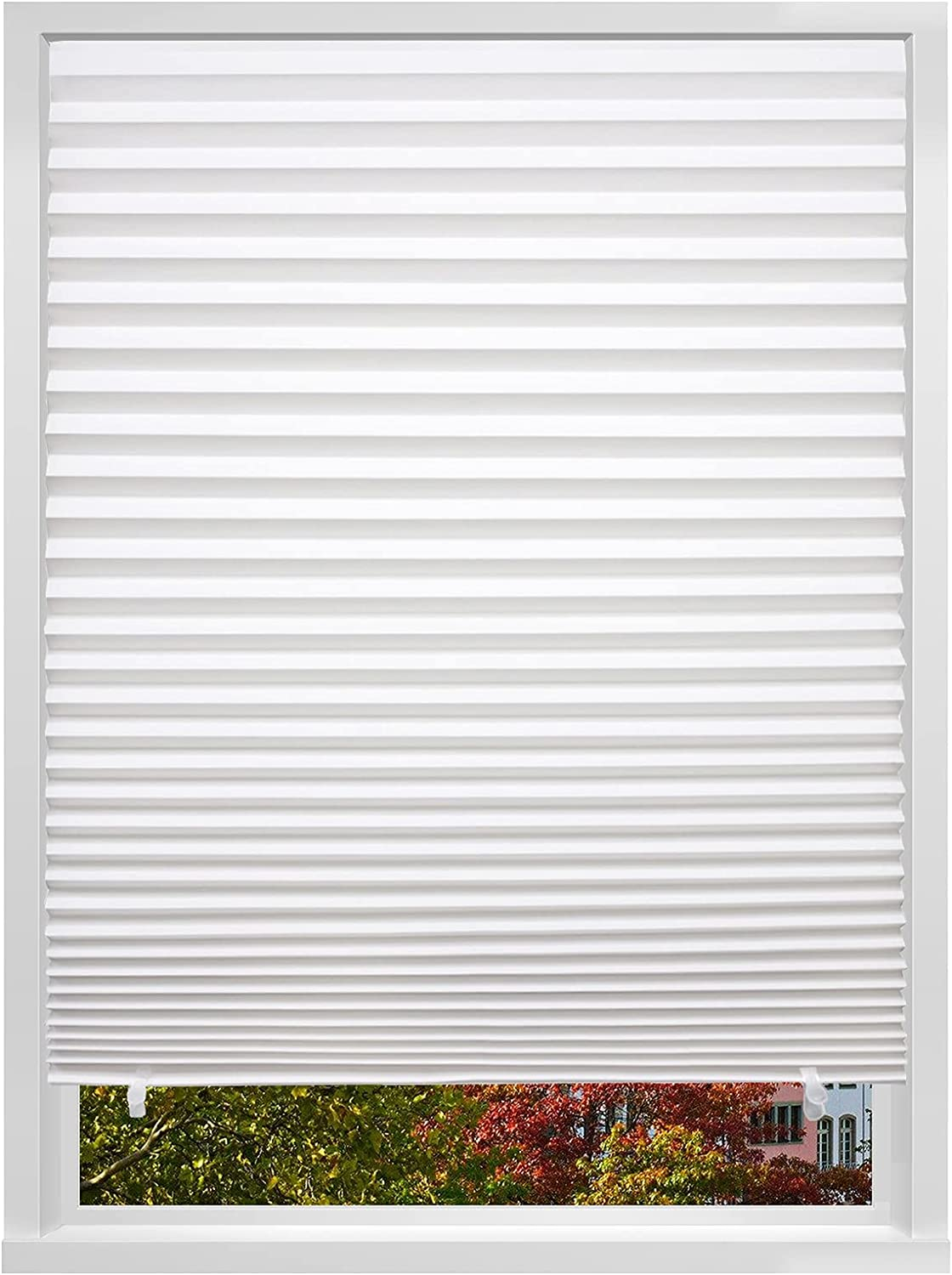 Changshade 6-Pack Light Filtering Pleated Paper Shades for Windows, Temporary and Portable Shades with 12 Clips for Travel, Peel and Stick to Install, Cut to Any Size, White PLT36WT72A