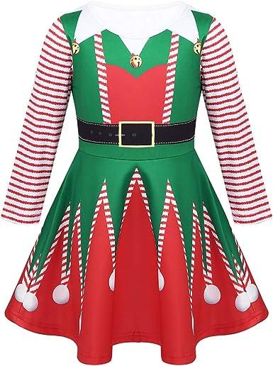 iiniim Disfraz de Elfo Duende para Niña Vestido Navideño Mangas ...