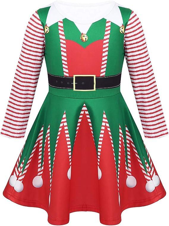 IEFIEL Vestido Navideño Disfraz Elfo para Niña 3-8 Años Vestido ...