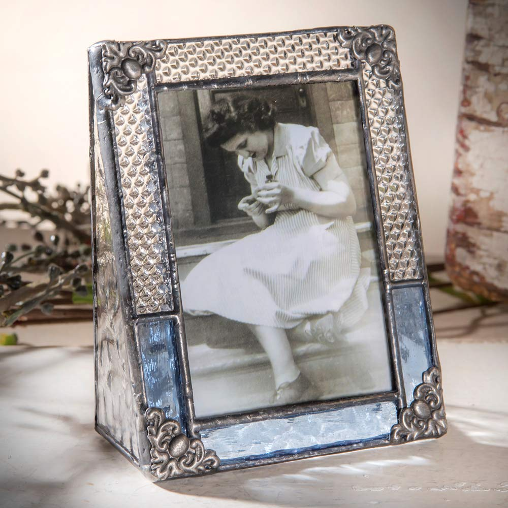 J Devlin Pic 381-2535 Blue Stained Glass Picture Frame Photo Frame Vintage Home Decor School 2 1//2 x 3 1//2