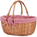 G GOOD GAIN Wicker Picnic Basket with Double Folding Handles,Willow Picnic Hamper,Natural Hand Woven Easter Basket,Easter Egg