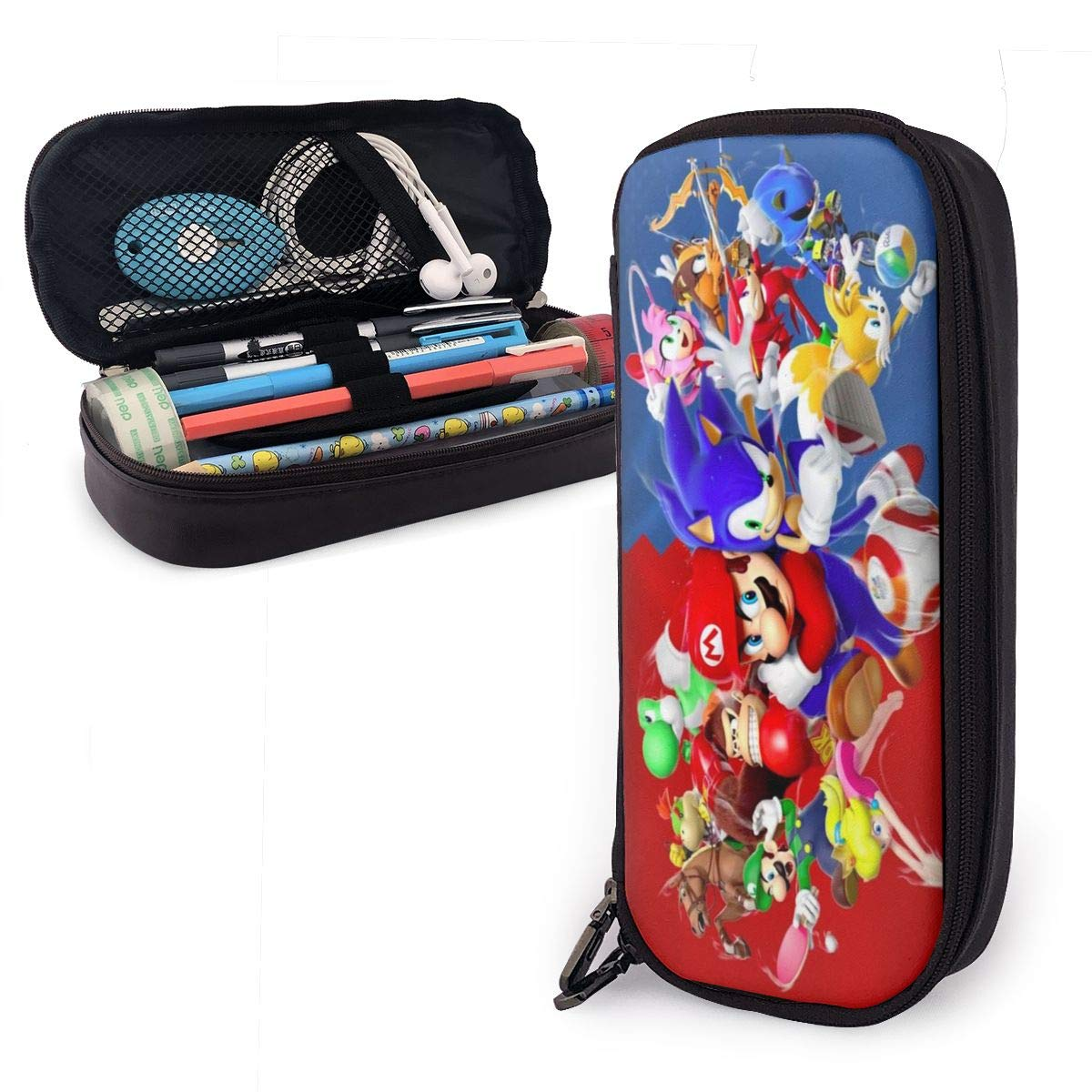 Pencil Case So-Nic and M-Ari-O Leather Stationery Bag Durable Zipper Large Capacity Pencil Box for School Office Black