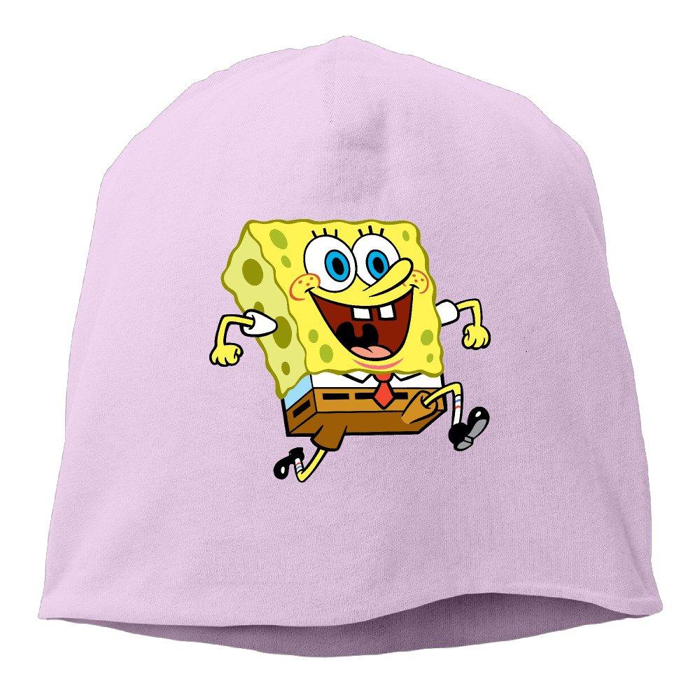 Happy Spongebob Running Men Women Daily Beanie Hat, Skull Cap ( 6 Colors ) Skull Cap ( 6 Colors ) Ash