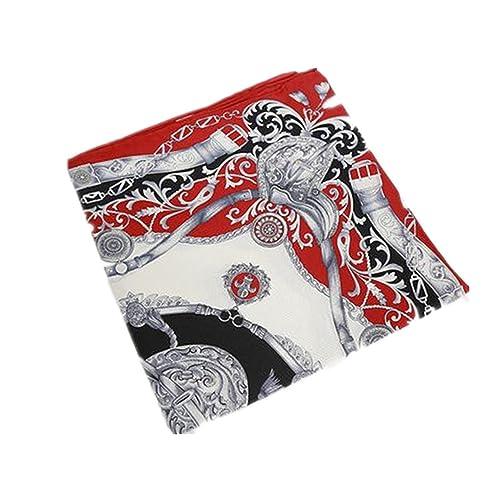Silk Run –'Capsula del tempo' sciarpa quadrata 100% seta (55cmx55cm, Colore: grigio e rosso)