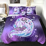 Sleepwish Unicorn Comforter Set 3D Twin Size Comforter 4 Pieces Bedding Set with 2 Pillow Shams and 1 Cushion Cover…