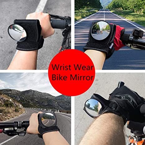 Wellbeing Bike Mirror Wrist Wear Cycling Bicycle Rear View Mirror Wristbands Guards Black Portable Adjustment for Cyclists Mountain Road Bike Riding Accessories Handlebars