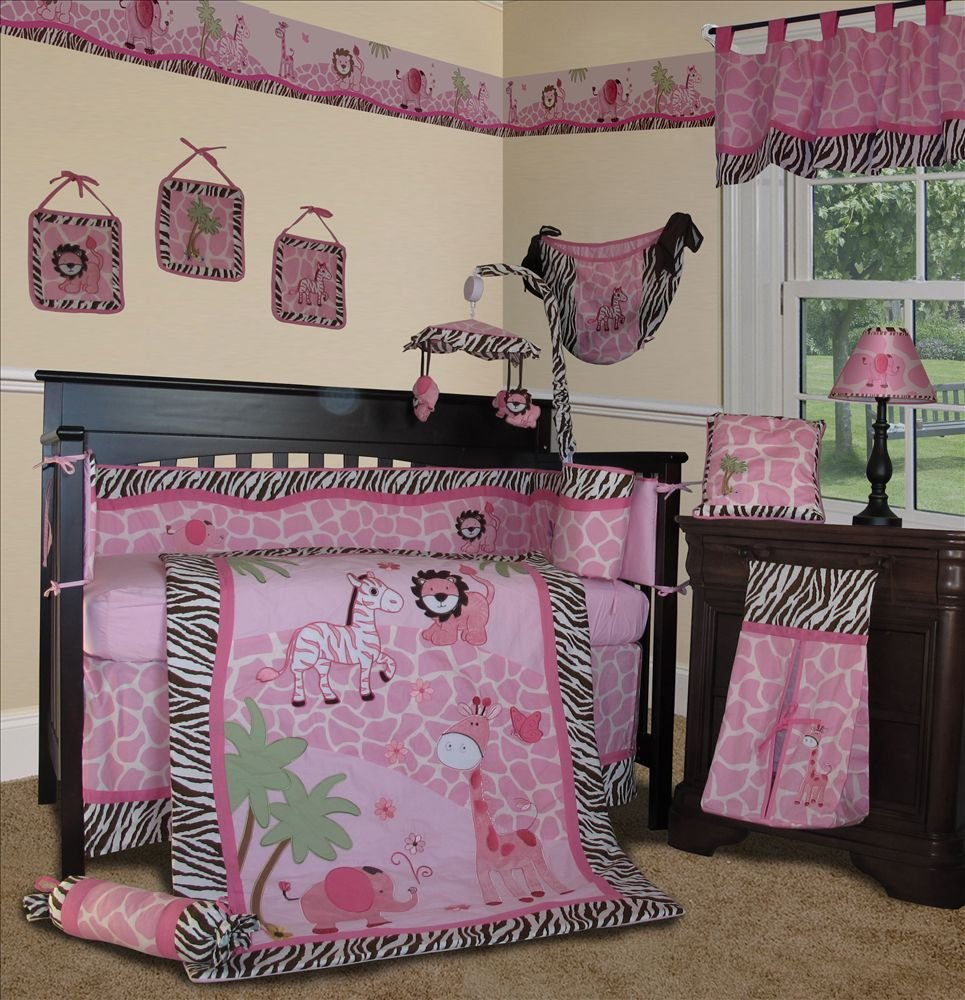 SISI Baby Girl Bedding - Pink Safari 13 PCS Crib Nursery Bedding Set by Sisi   B006KYPU6O