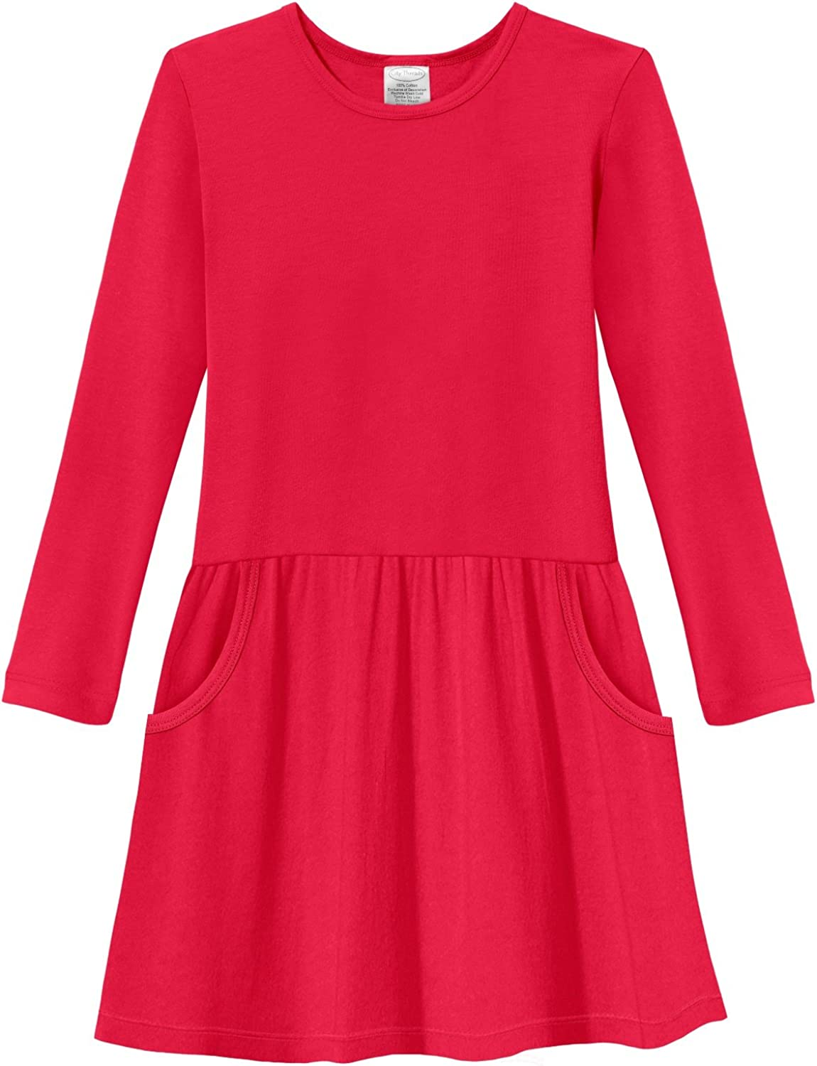 City Threads Girls' Drop Waist French Pocket Party Dress Long Sleeve 100% Cotton for School Play Made in USA