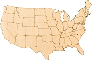 PARBEE US Map Wood Cutout Unfinished Wood Laser America Map Wall Art Decor for 4th of July Tiered Tray Decoration Independence Day Patriotic DIY Crafts