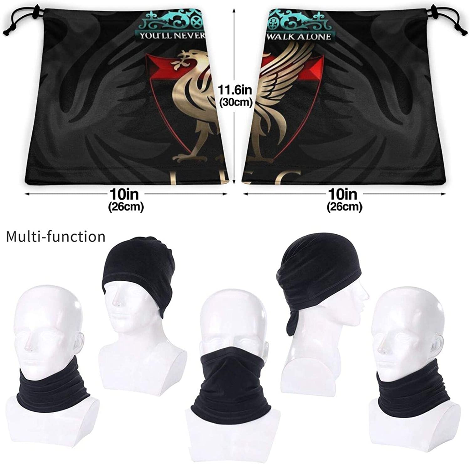 UV//Wind Protection Reusable Washable Stretchy Breathable Bandana for Yoga Running Hiking Balaclava Headwear Neck warmer Liverpool football club Unisex Neck Gaiter Tube Snood Face Coverings