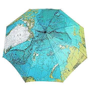Moda Mapa del mundo paraguas Atlas 8 Panel compacto plegable Paraguas resistente lluvia paraguas, mujer