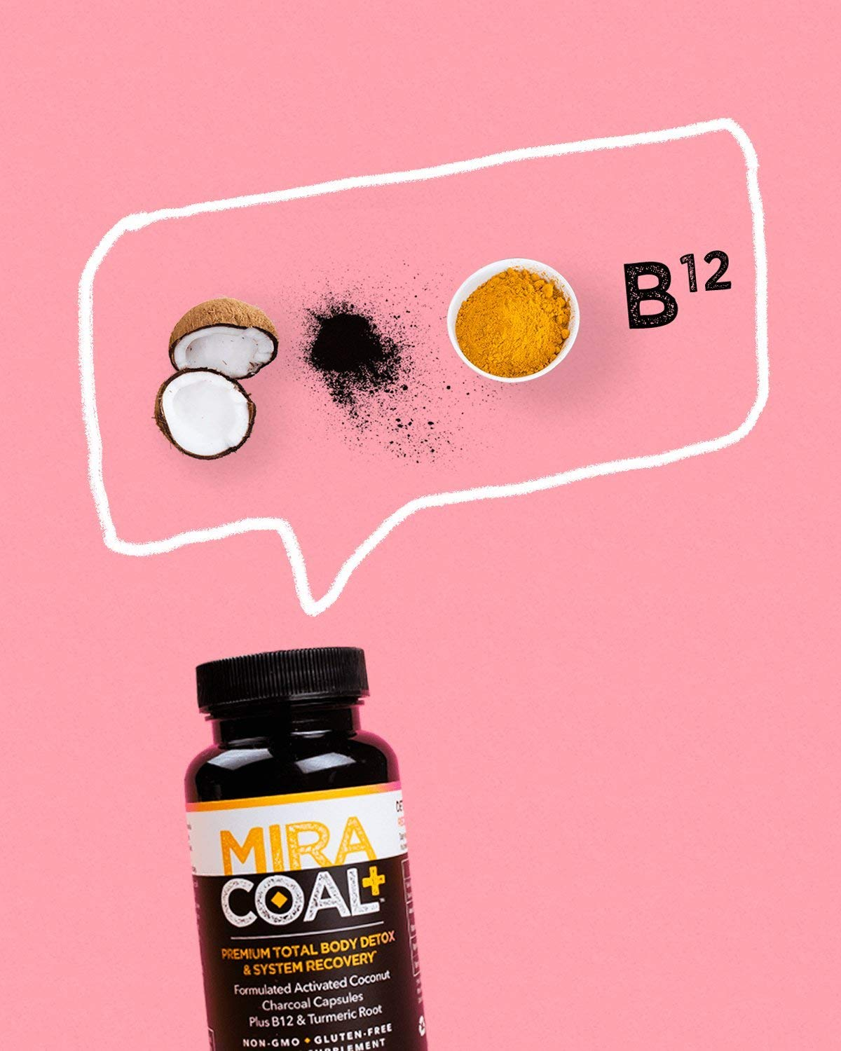 Miracoal Activated Charcoal Capsules for Detox - Turmeric Root for Inflammation | Vitamin B12 for Boosted Energy | Organic, Non GMO and Gluten by Miracoal (Image #8)