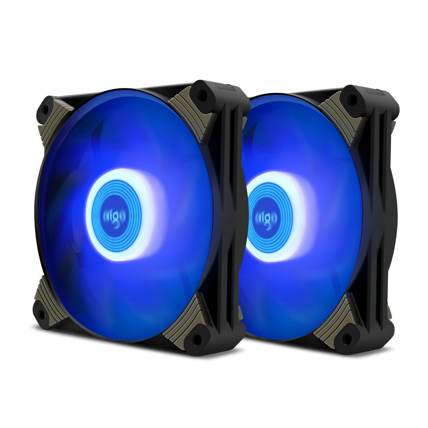 Aigo Icy-series X1 120mm LED Quiet Edition High Airflow Hybrid-Design Silent Fan for Computer Cases CPU Coolers and Radiators Ultra Quiet Computer PC Case Fan (2 Pack Blue)