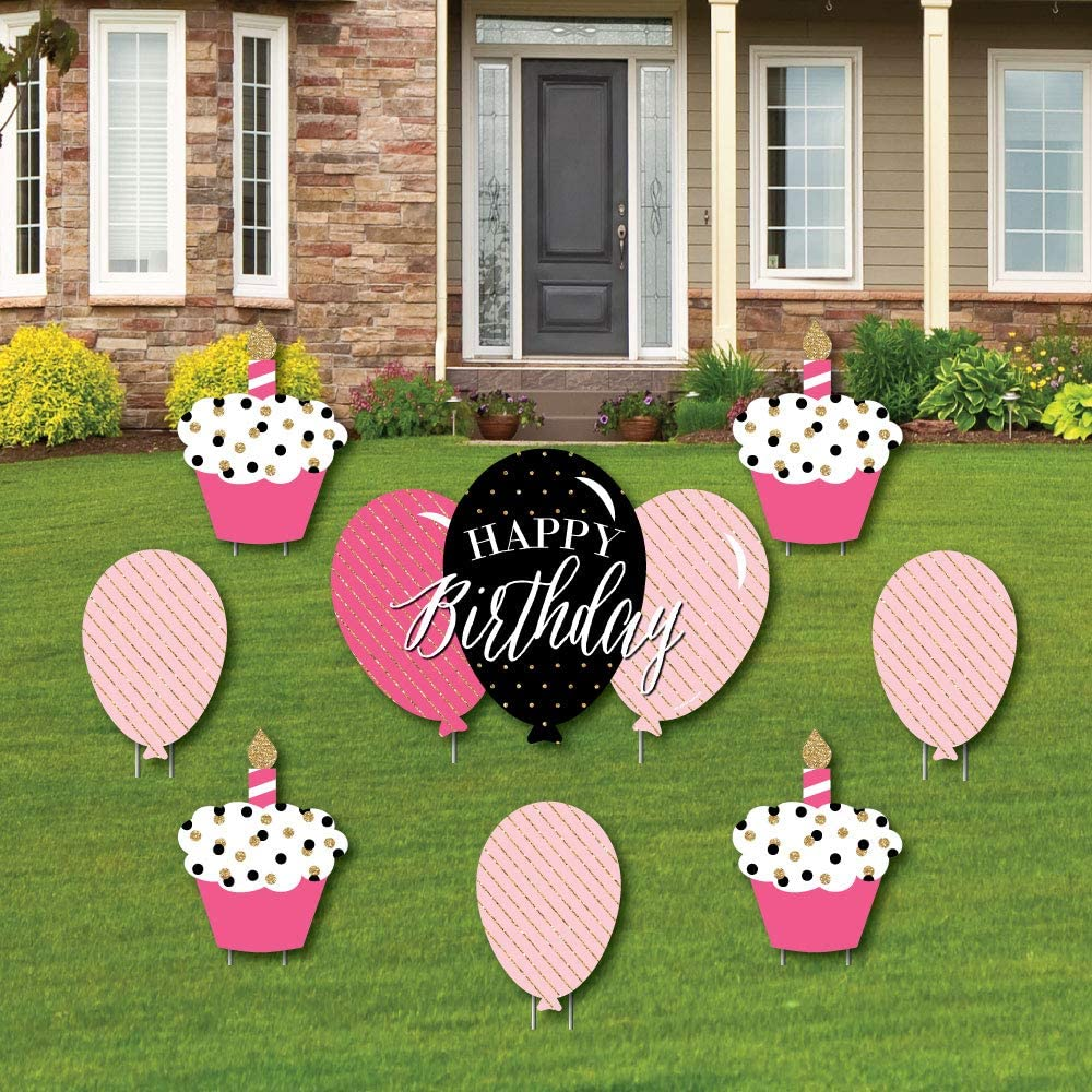 Big Dot of Happiness Chic Happy Birthday - Pink, Black and Gold - Yard Sign and Outdoor Lawn Decorations - Happy Birthday Party Yard Signs - Set of 8