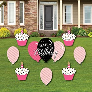 product image for Big Dot of Happiness Chic Happy Birthday - Pink, Black and Gold - Yard Sign and Outdoor Lawn Decorations - Happy Birthday Party Yard Signs - Set of 8