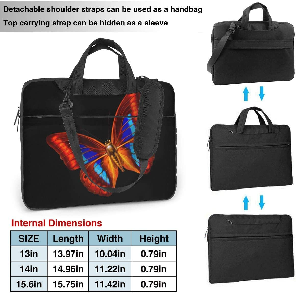 Butterfly /& Black Printed Laptop Shoulder Bag,Laptop case Handbag Business Messenger Bag Briefcase