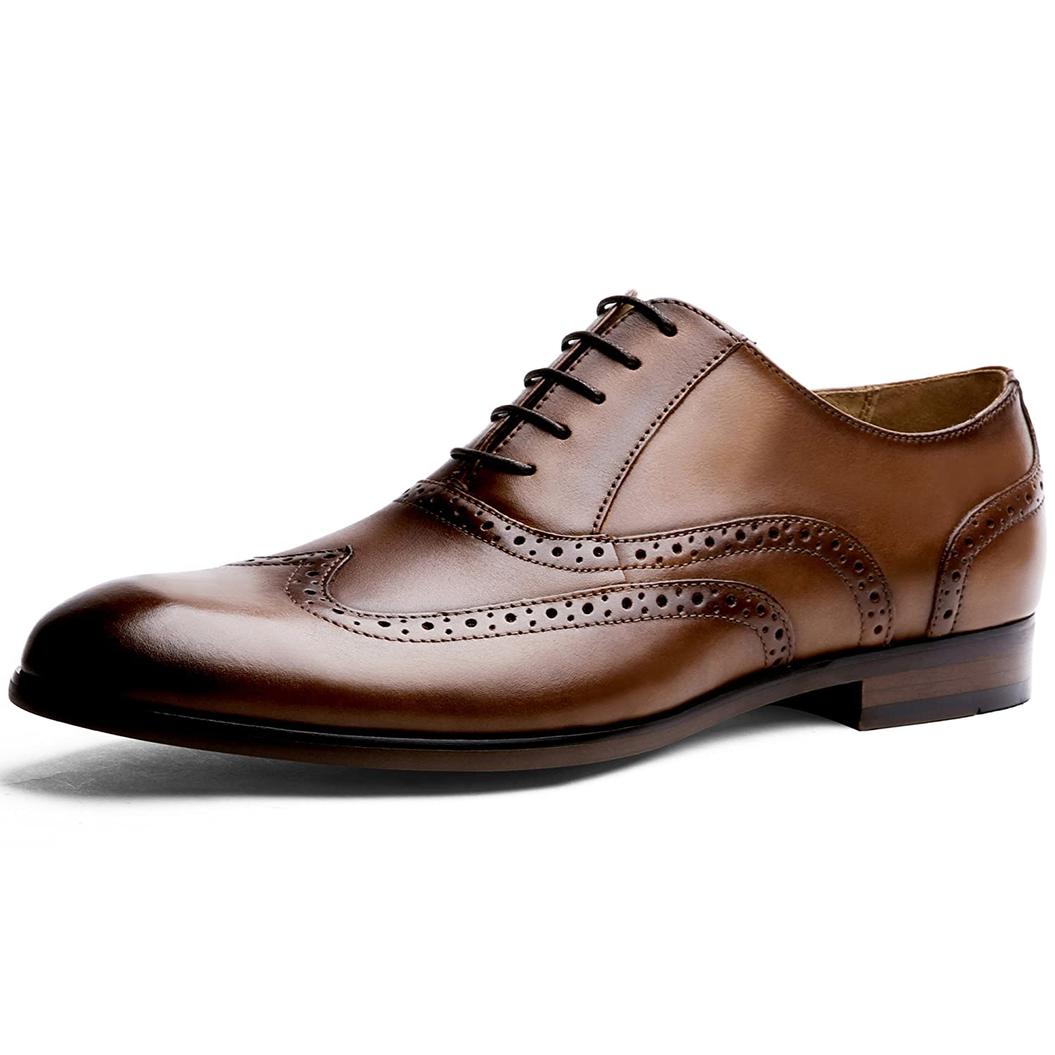 DESAI Scarpe Stringate Basse Oxford Brogue Uomo Nero/Marrone Marrone