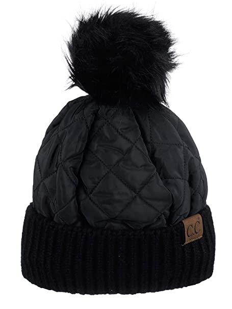 15110ced113 C.C Soft Quilted Puffer Detachable Faux Fur Pom Inner Lined Cuff Beanie Hat,  Black