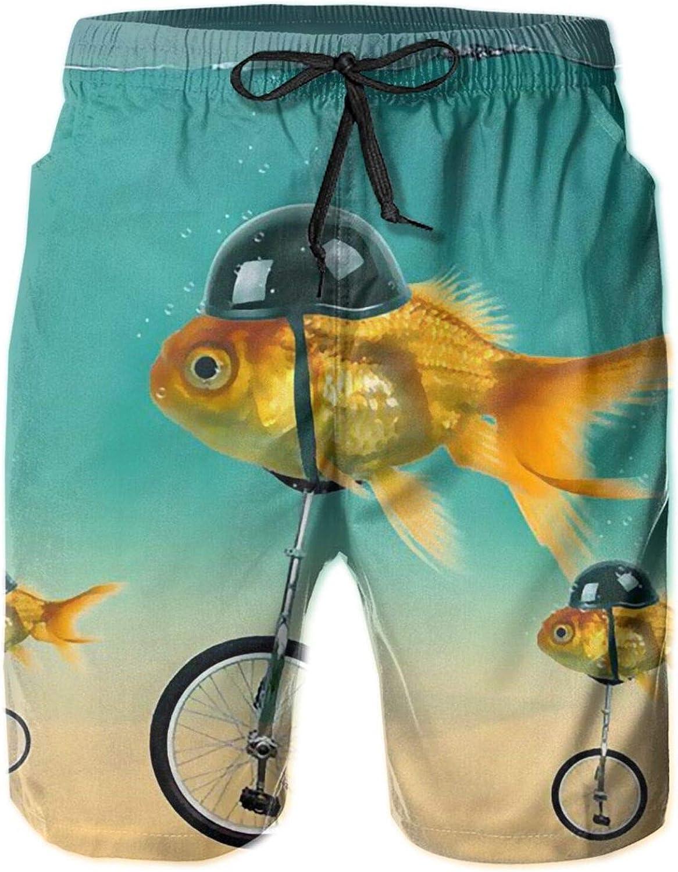 Olverz Bañador para hombre, con bolsillos y diseño de peces divertidos en la bicicleta, pantalones cortos de playa para hombre