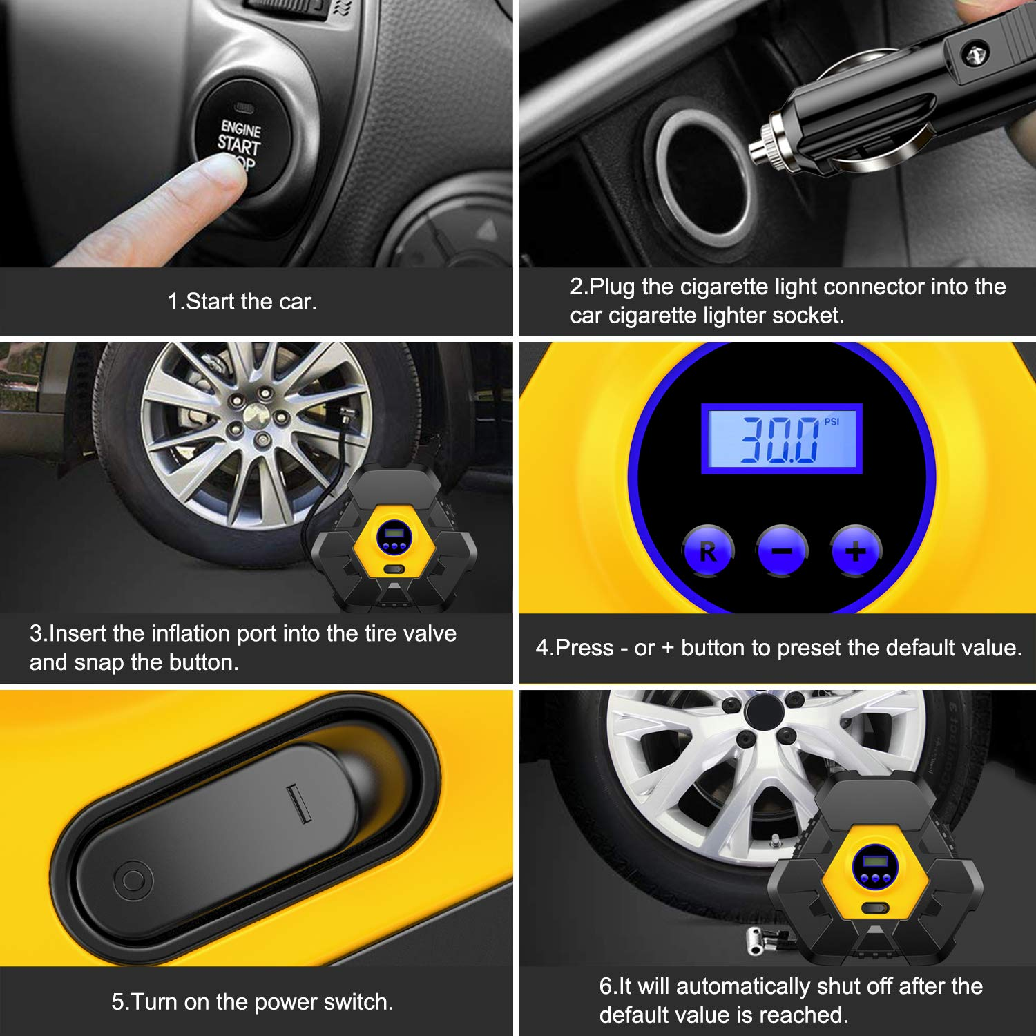 CICMOD Car Tyre Inflator 150PSI Auto Air Compressor Pump Portable 12V Digital Display Tyre Pressure Gauge for Truck SUV