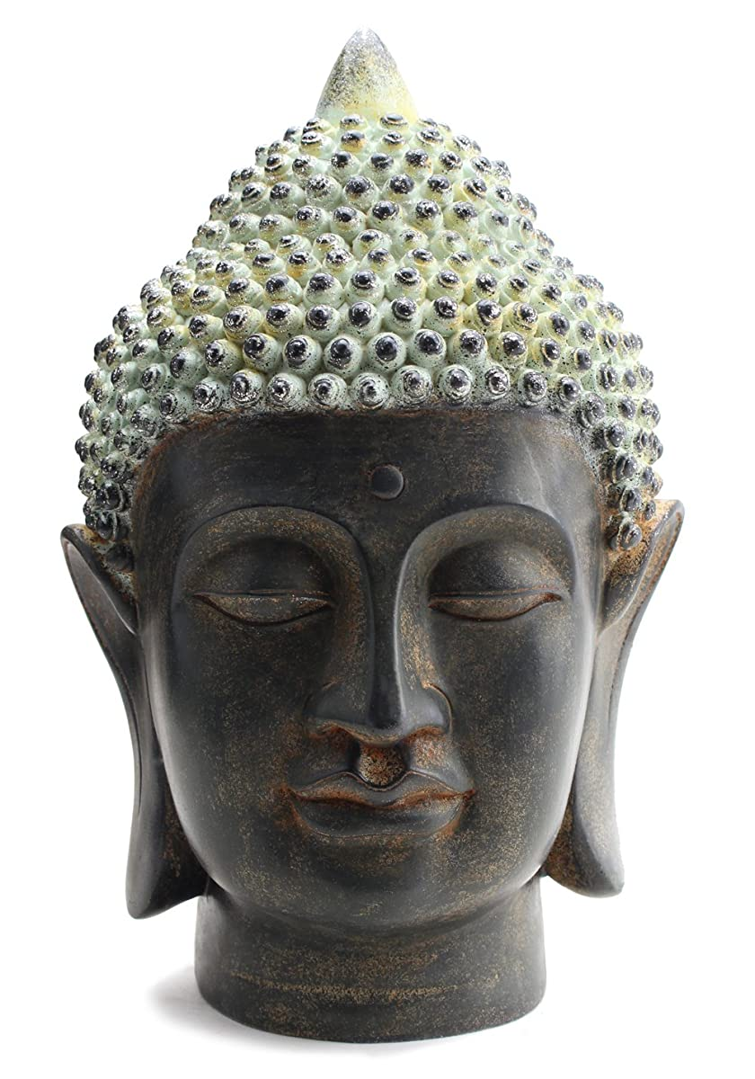 """Smiling Meditating Buddha Shakyamuni Head Statue 10.5"""" Tall Blessing Mercy & Love Peaceful Feng Shui Idea (G16628) - We Pay Your Sales Tax"""
