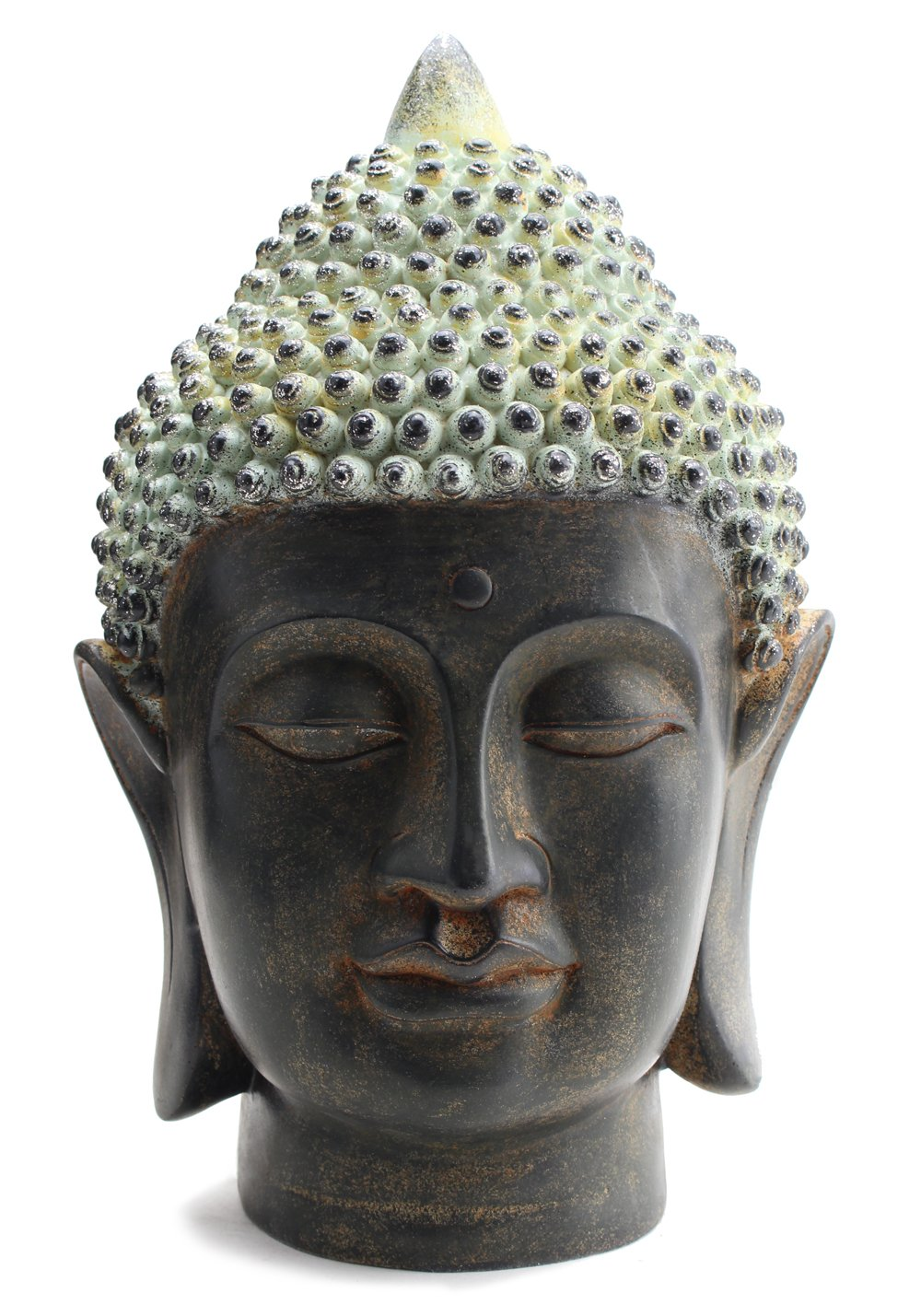 Smiling Meditating Buddha Shakyamuni Head Statue 10.5'' Tall Blessing Mercy & Love Peaceful Feng Shui Idea (G16628) - We Pay Your Sales Tax