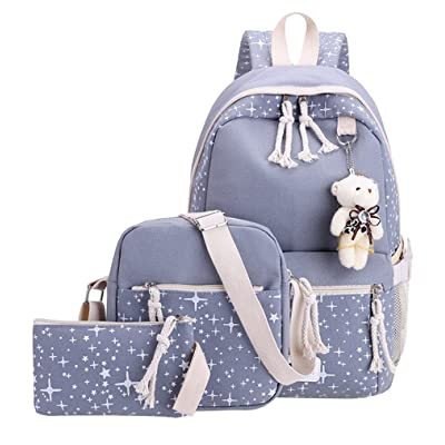 Fanci 3Pcs Stars Prints Canvas Elementary School Rucksack Backpack Set for Girls Women Casual Daypack | Kids' Backpacks