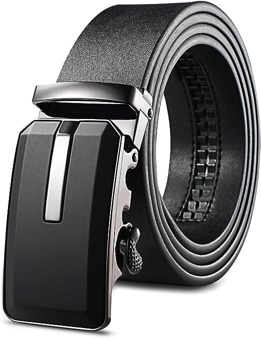 Belt for Men Genuine Leather Belt with Auto Sliding Lock Buckle Large Size