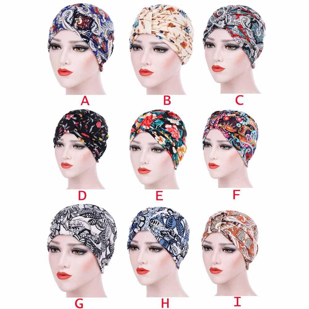 Women's Muslim Stretch Turban Hat Hair Loss Head Wrap Cap Chemo Cap Sleep Cap Fashion Slouchy Hats for Women by Tianjinrouyi Hats (Image #3)