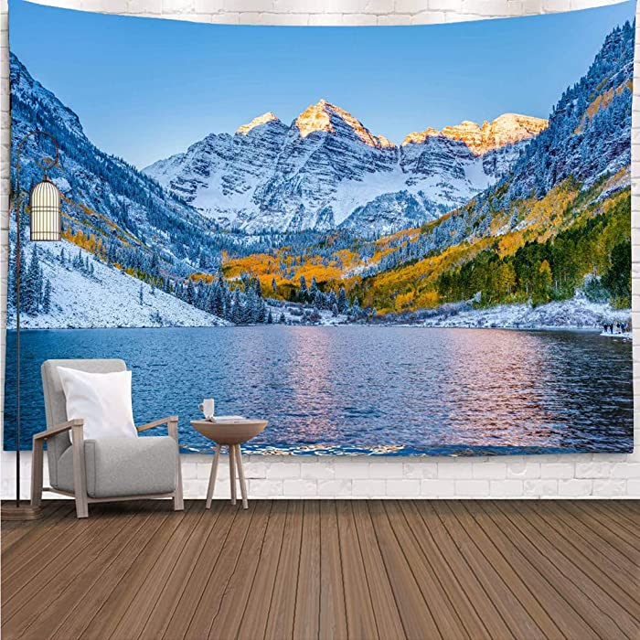 YISURE Snow Mountain Lake Landscape Colorado Tapestry for Bedroom, Tibet Nature Scenery Wall Tapestry Hanging for Living Room Home Decoration, 80x60 Inch