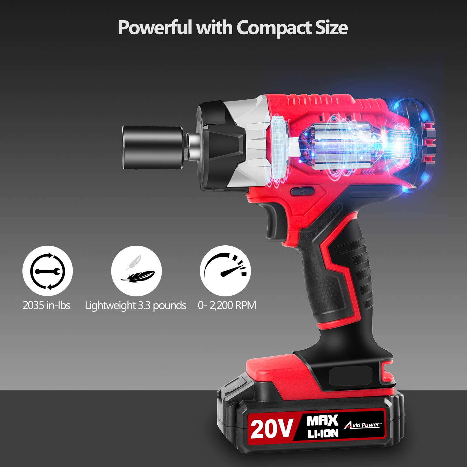 """20V MAX Cordless Impact Wrench with 1/2"""" Chuck, Max Torque 230N.m, 4Pcs Driver Impact Sockets, Tool Bag and 1.5A Li-ion Battery, Avid Power MCIW326 by Avid Power (Image #3)"""