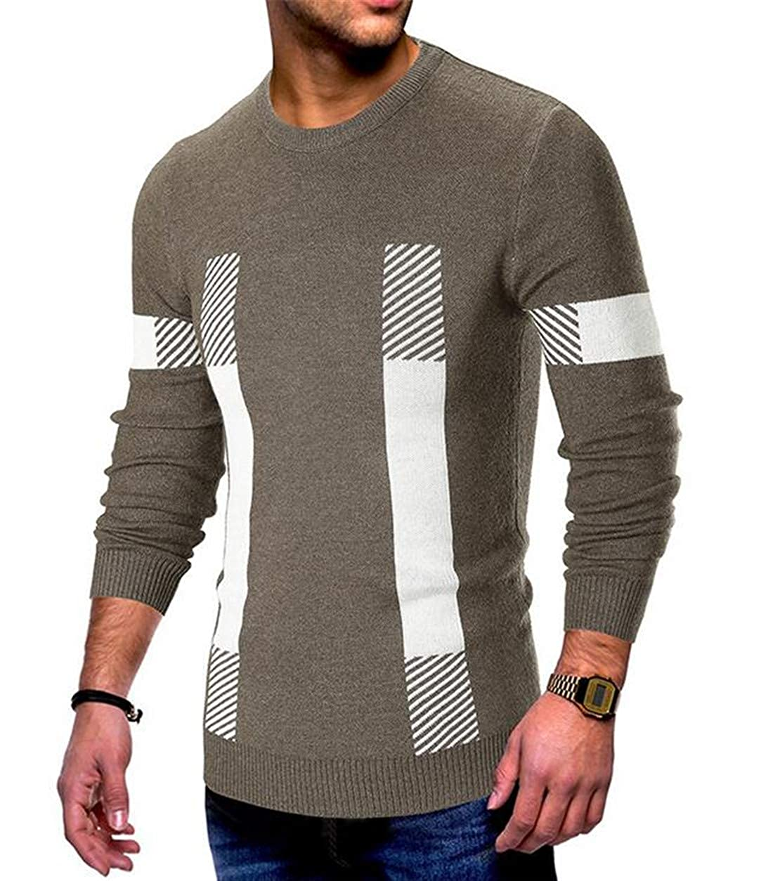 UUYUK Men Splice Round Collar Pulover Long Sleeve Striped Sweaters