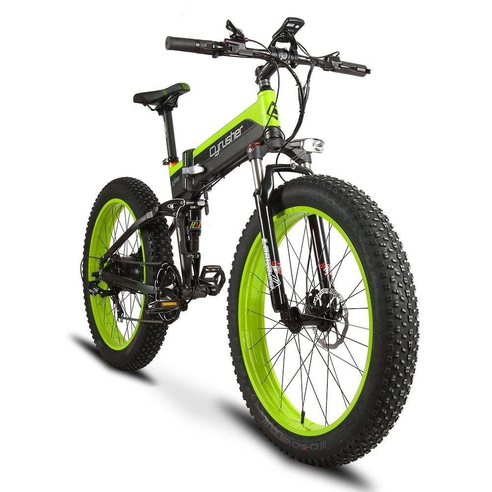Cyrusher XF690 FATBIKE ファットバイク 折りたたみ自転車 スノーバイク シマノ7段変速 極太タイヤ 500W / 48V電機 雪道 悪路 スピード計付属  グリーン B07GB4H8VB