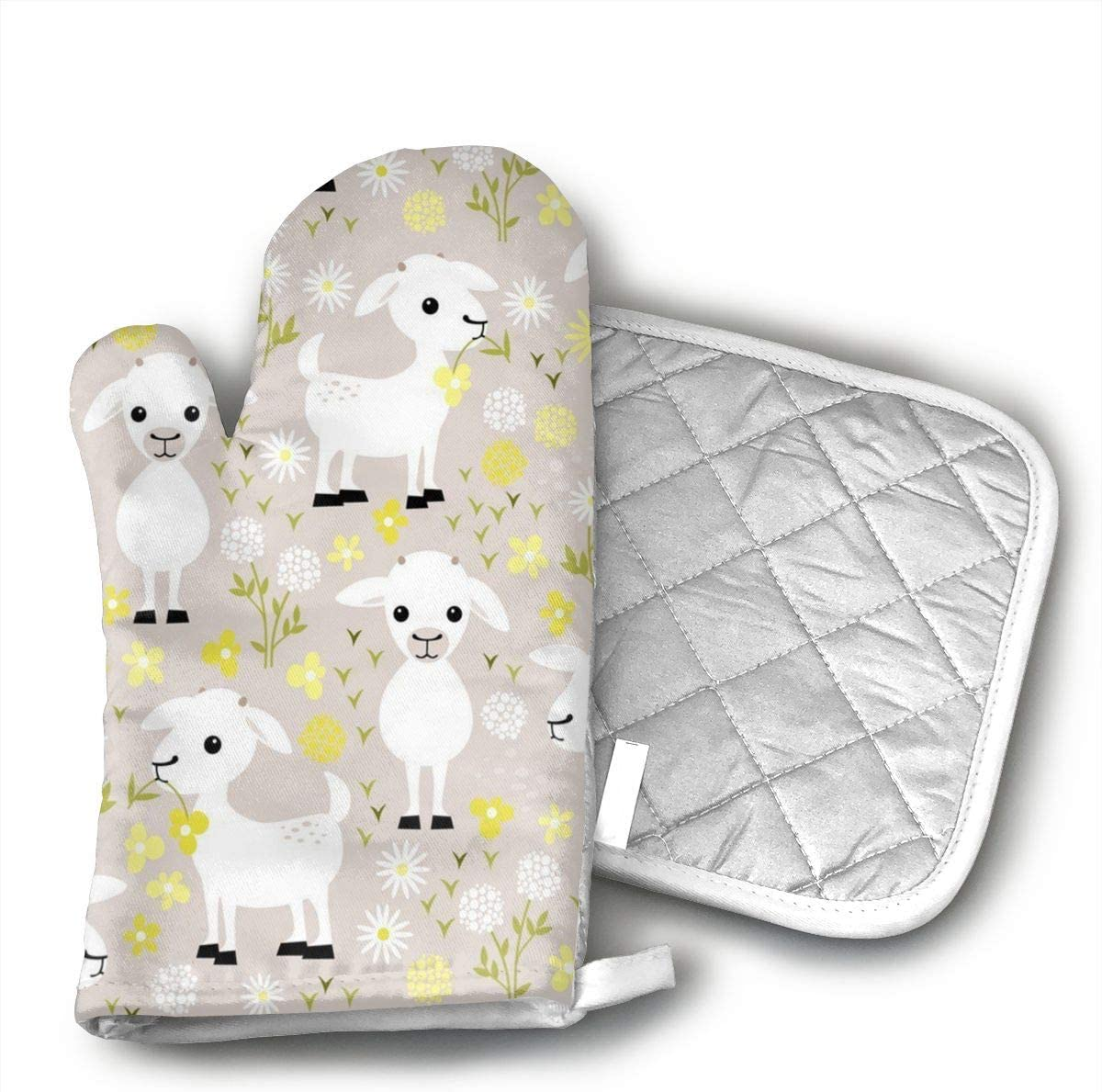TUJABZA71 Baby Goats Oven Mitts Heat Resistant Kitchen Oven Gloves Machine Washable Terry Oven Mitts