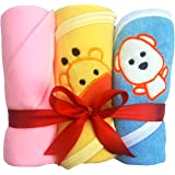 Brandonn Unisex Polar Fleece Hooded Blanket And Towel Combo (0-12 Months)- Pack Of 3 Pink Yellow And Blue