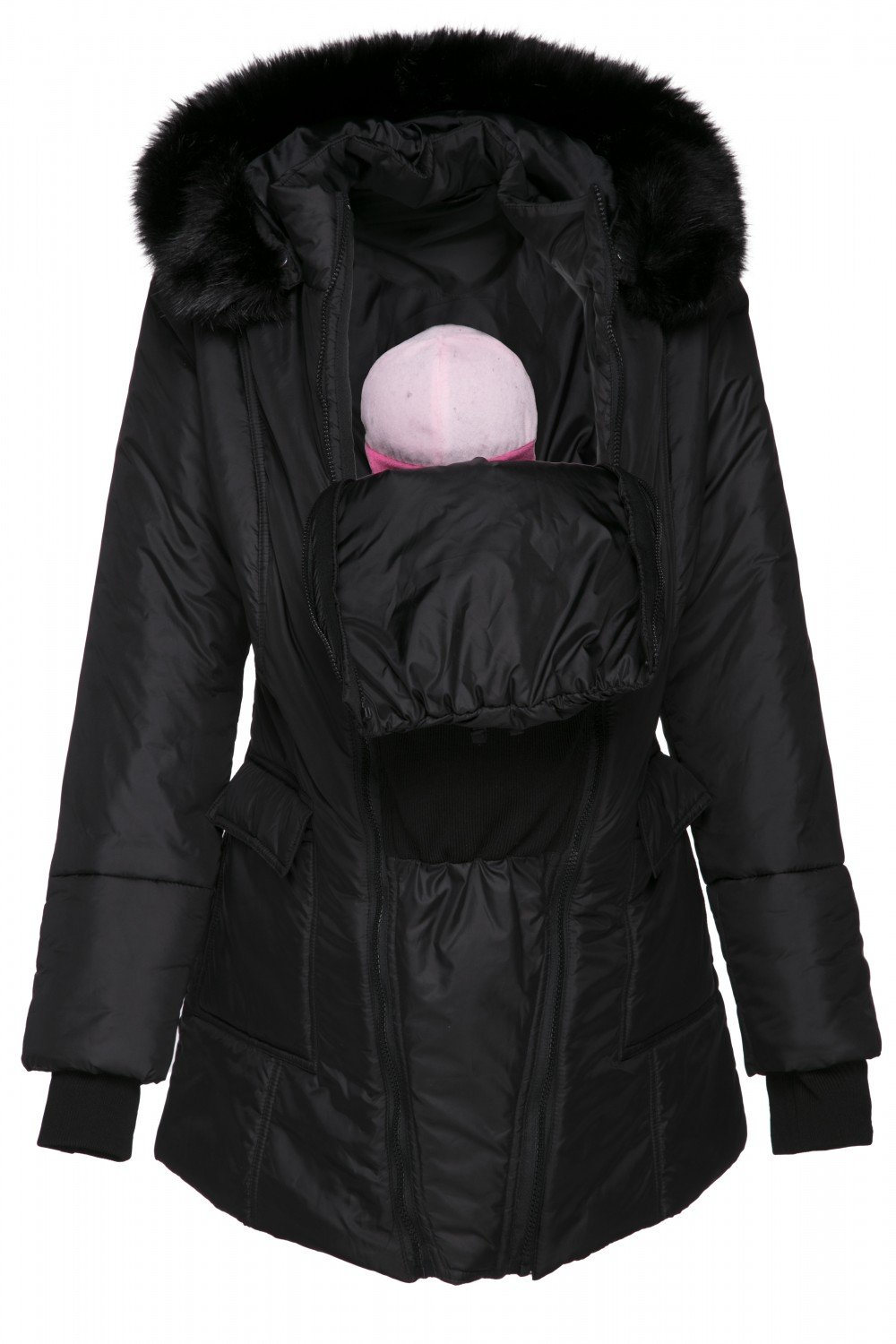 Happy Mama. Womens Maternity Padded Jacket 3in1 Two-Sided Removable Insert. 449p (Black, US 12, 2XL) by Happy Mama