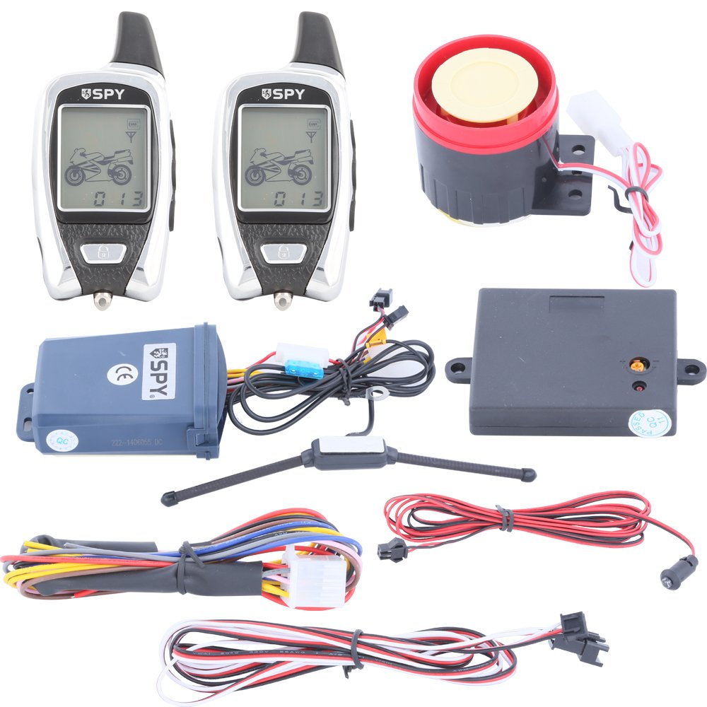 Amazon.com SPY 5000m 2 Way LCD Motorcycle Alarm System with Remote Engine Start Starter and Microwave Sensor Automotive  sc 1 st  Amazon.com : motorcycle alarm system wiring diagram - yogabreezes.com