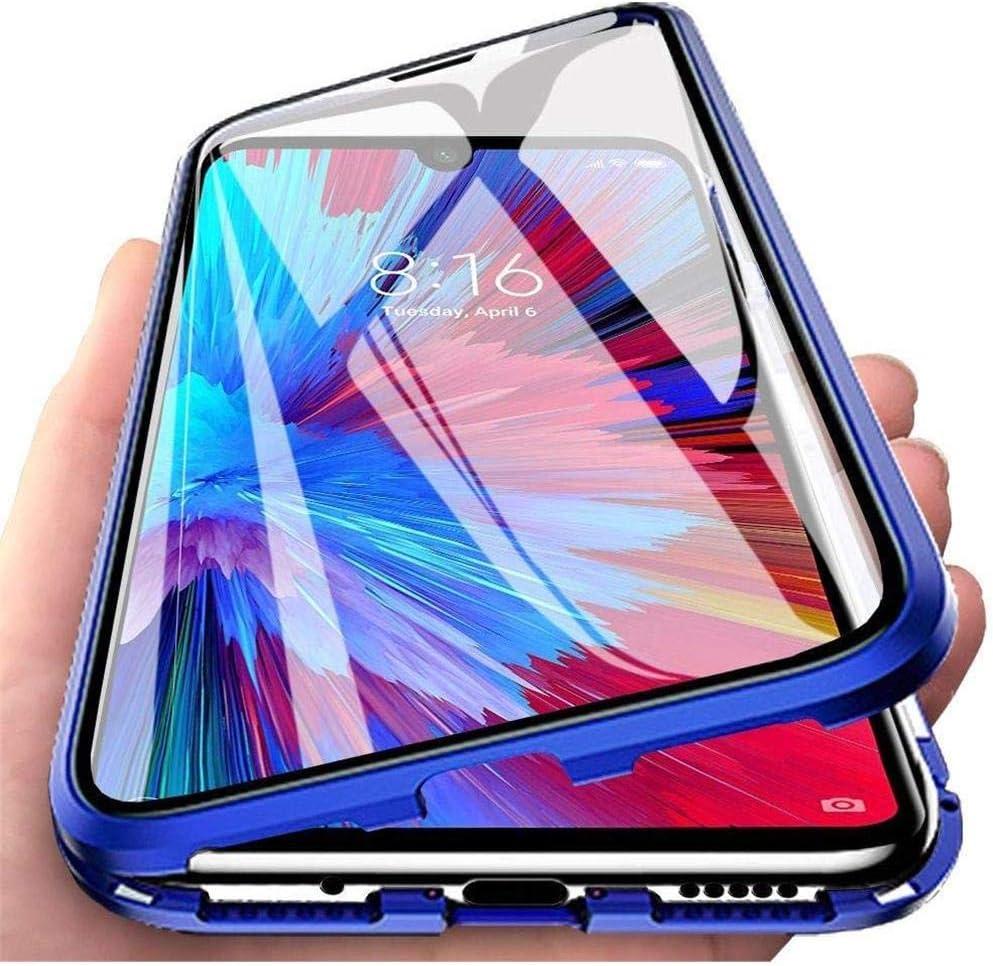Funda para Xiaomi Redmi Note 9S / Redmi Note 9 Pro, 360 Grados Delantera y Trasera de Transparente Vidrio Templado Case Cover, Fuerte Tecnología de Adsorción Magnética Metal Bumper Cubierta - azul