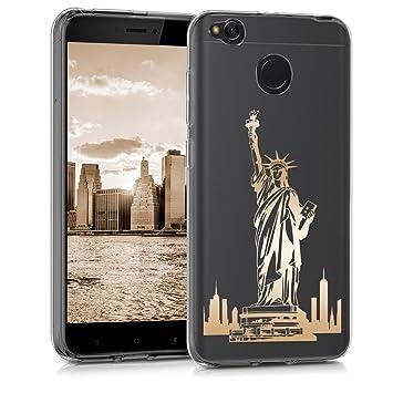 kwmobile Funda para Xiaomi Redmi 4X - Carcasa Protectora de [TPU] con diseño Statue of Liberty en [Dorado/Transparente]