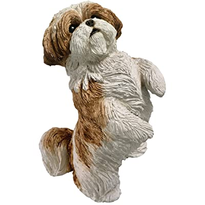 Sandicast Small Size Gold and White Shih Tzu Sculpture, Sitting Pretty: Home & Kitchen