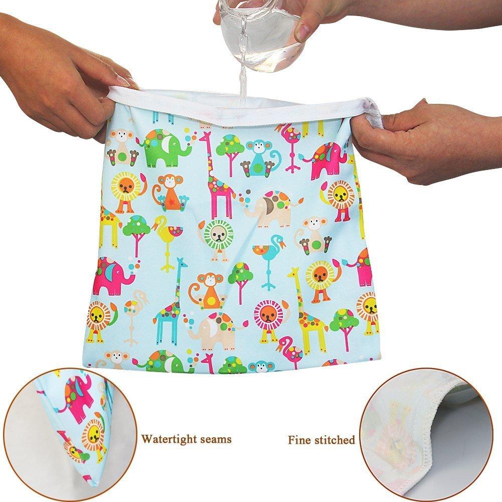 TM Impermeabile del Bambino Riutilizzabile Secco ed Umido del Pannolino Bambino Sacchetto 2 Zipper Stampa Sacchetto del Pannolino Animale iZiv