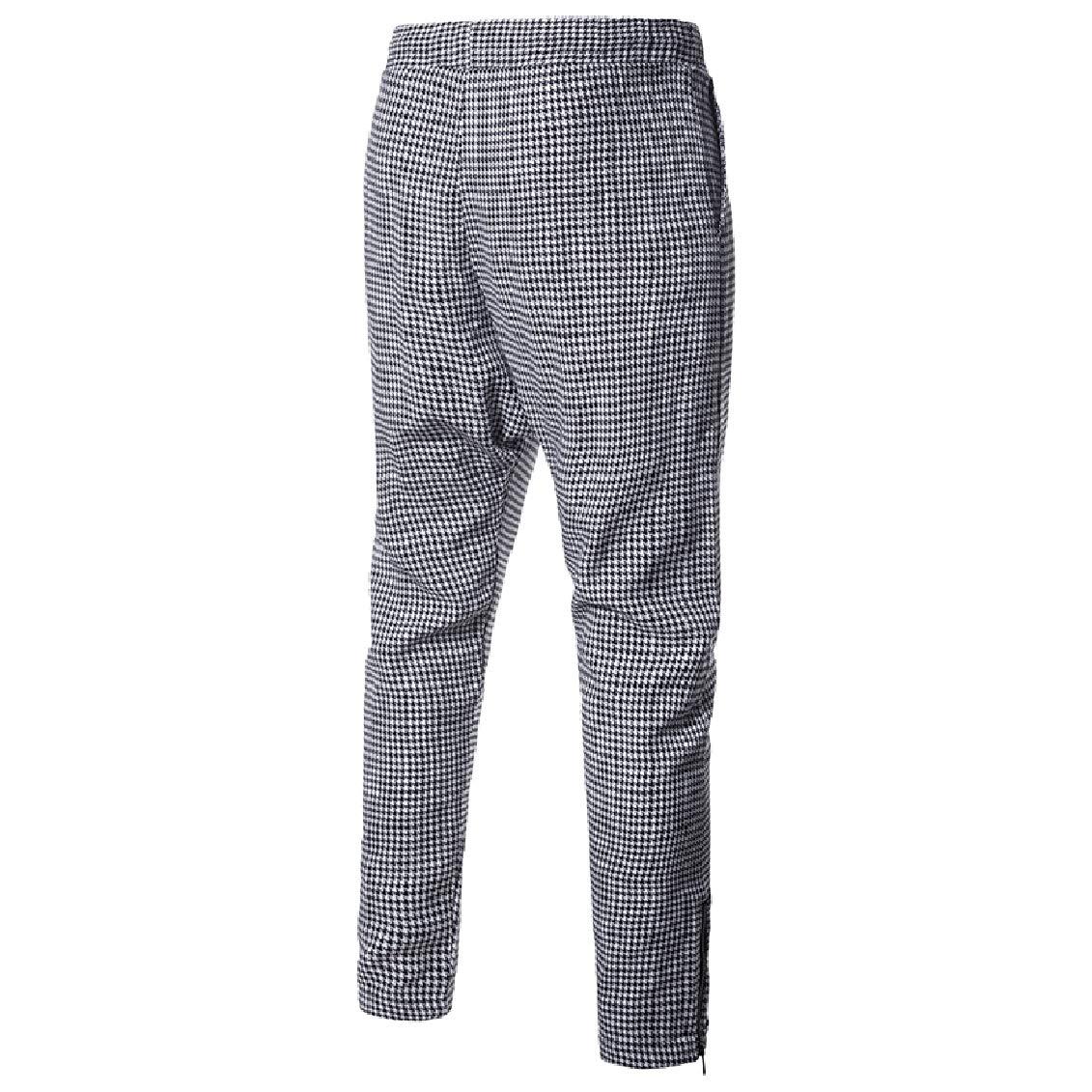 Coolred-Men Plaid Harem Pants Trim-Fit Cozy Zipper Elastic Waist Casual Pants