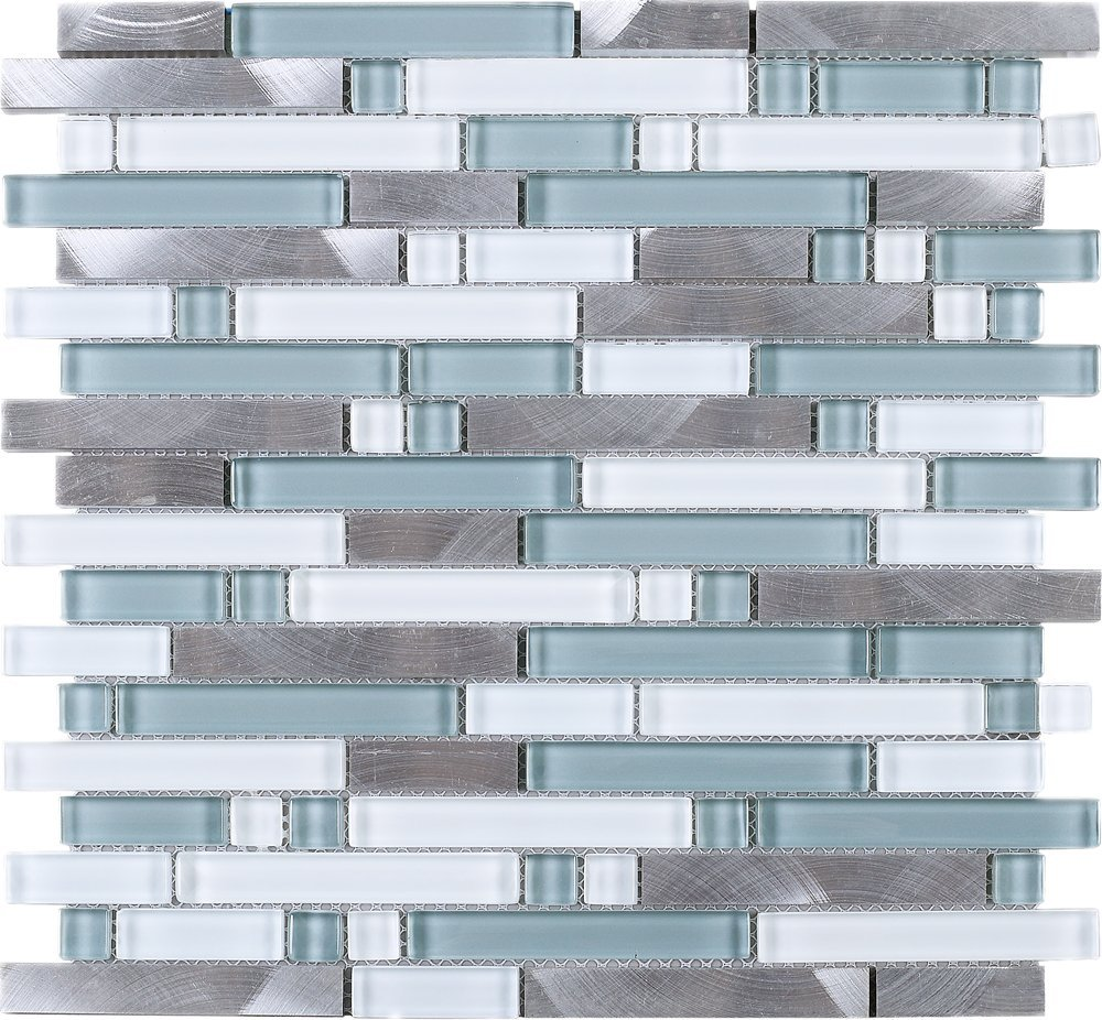 TSBKG-01 Blue Silver Brick Glass and Aluminum Mosaic Tile Sheet-Kitchen and Bath backsplash Wall Tile