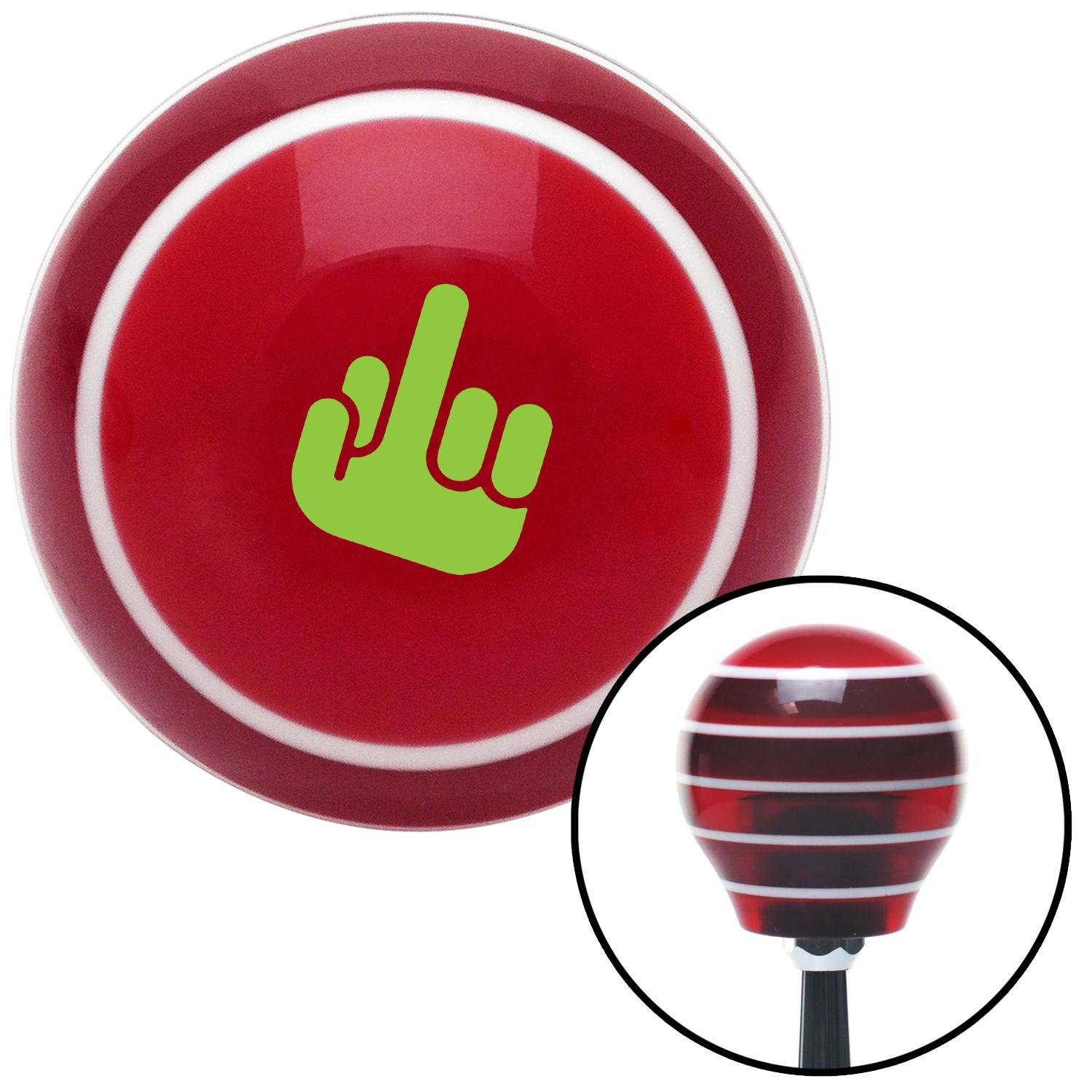 Green Middle Finger Solid Red Stripe with M16 x 1.5 Insert American Shifter 274174 Shift Knob