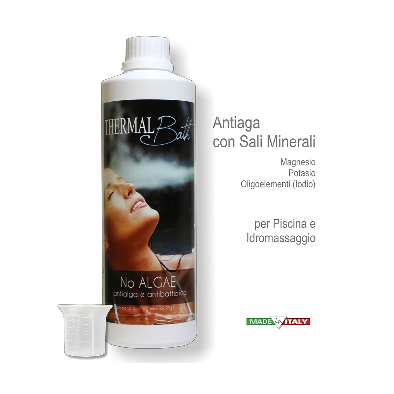Thermal Bath antialga Igienizzante addizionato con Sali minetrali (Magnesio, Ion Potasio, Iodio) para tratamiento con agua termale - Noalgae 500 ml + ...