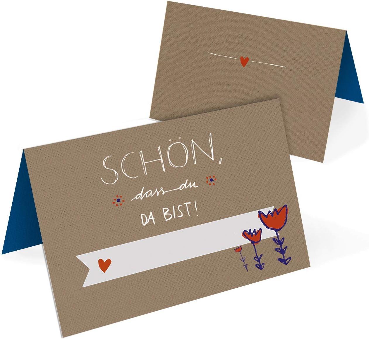 Taufe klimaneutrale Namenskarten Blumen Design Geburtstag Kommunion 50 Tischkarten aus Recyclingpapier Beige Rot Blau Wei/ß dass du da bist Platzkarten zum beschriften f/ür Hochzeit Sch/ön