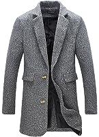 FLATSEVEN Mens Winter Tweed Coat Long Jacket Wool (CT901) Blue, XS ...