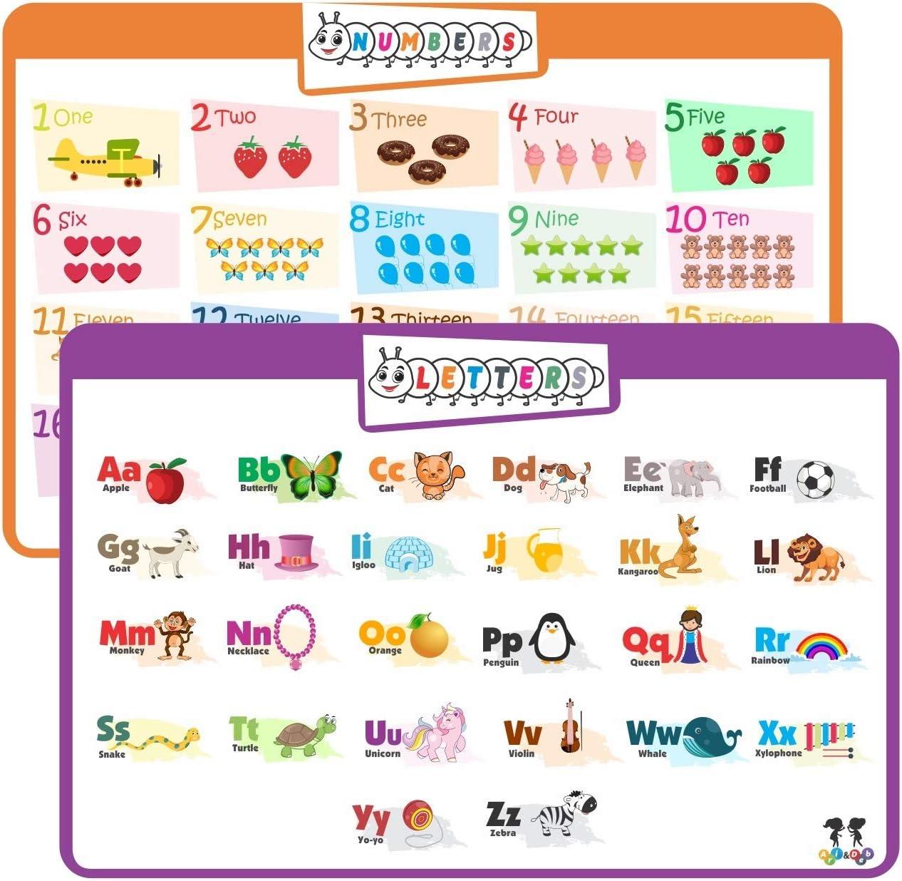 Ari & Deb Manteles Individuales para niños o póster: Juego de 2 manteles Individuales educativos, manteles Individuales para niños: números y Alfabeto.
