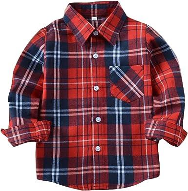 Camisas Niños Algodón Larga Manga Camisa - Juelya Classics Abotonar Manga Larga Plaid Camisa Sweat Shirt Chico Chica de 2-14 años