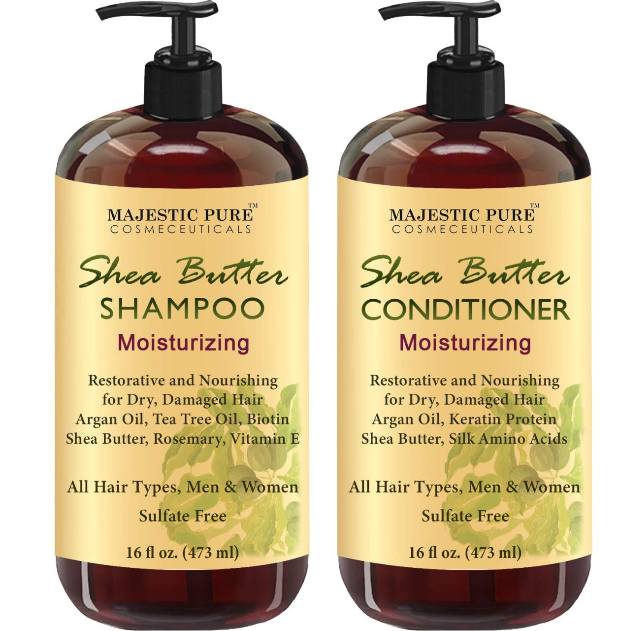 MAJESTIC PURE Shea Butter Shampoo and Conditioner Set, Moisturizing & Nourishing - Daily Shampoo Set for Men and Women - Sulfate Free & Paraben Free, 16 fl oz each by Majestic Pure